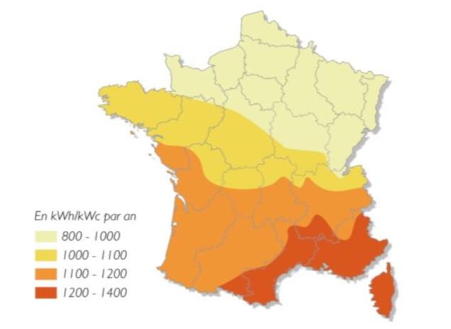 production panneaux solaires carte ensoleillement